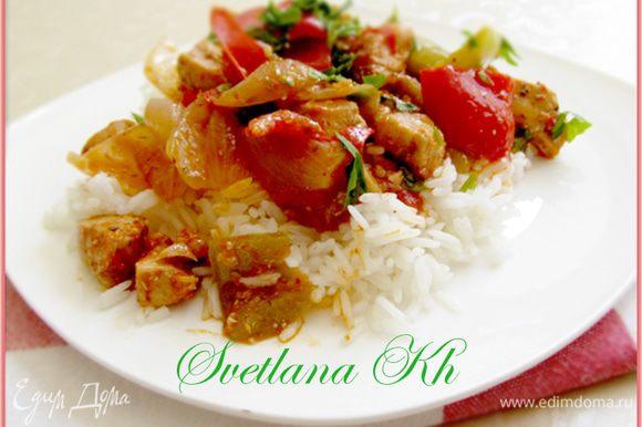 Лучшим гарниром к этому блюду будет рассыпчатый рис.