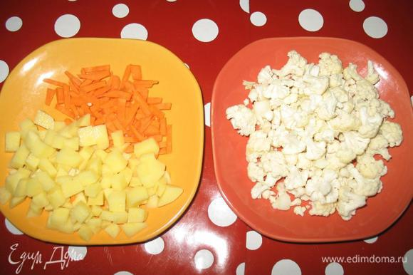 Порезать мелким кубиком картофель, лук мелко порезать, морковь потереть на крупную терку или нарезать тонкой соломкой.