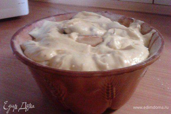 Подготовить форму для кекса: для этого смазать её сливочным маслом и посыпать мукой, выложить в неё тесто.