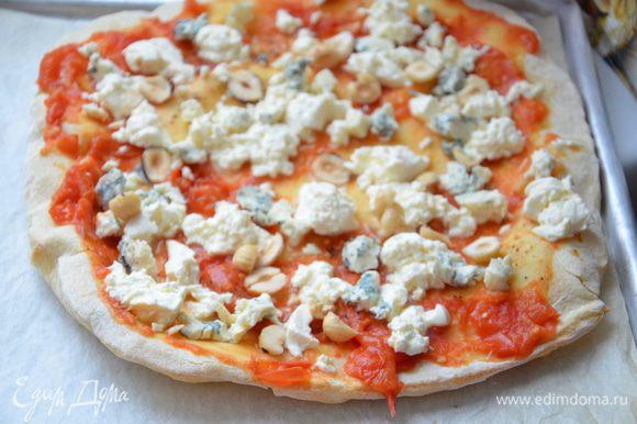 Достать пиццу из духовки(духовку можно выключать).