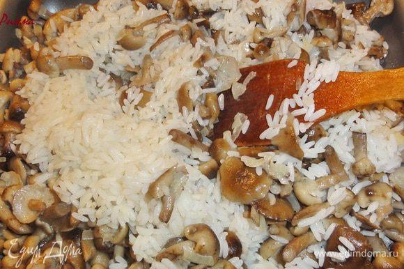 Соедините грибы с рисом.