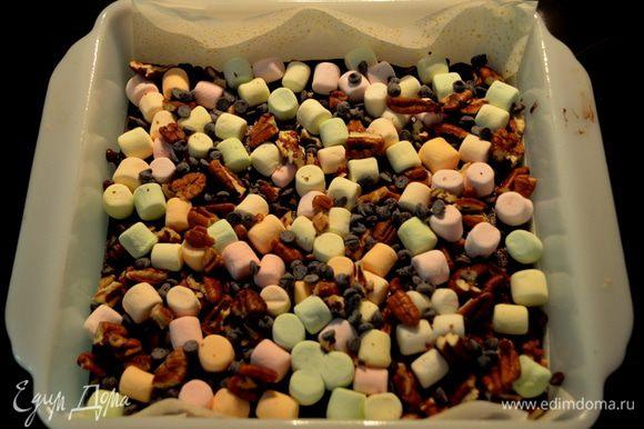 Достать с духовки, сверху высыпать маршмэллоу,орехи и шоколадные капли. Вернуть в духовку на 3 мин. Остудить при комн. тем-ре примерно 1 час.
