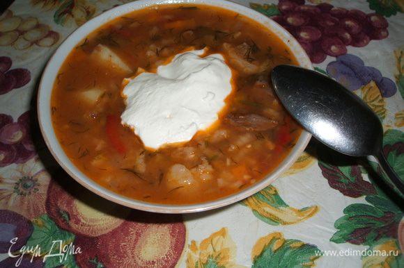 Подаем её с кефиром , или сметаной , или с не сладким йогуртом. Можно добавить листики базилика. Все по вкусу. Приятного аппетита!!!!