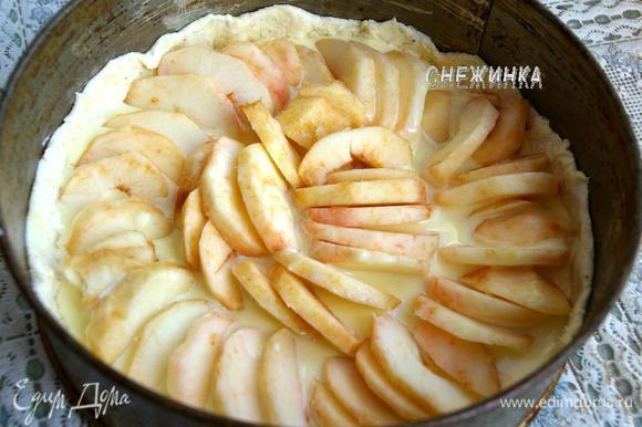 В форму с тестом наливаем часть заливки. На неё красиво и плотно укладываем дольки яблок.