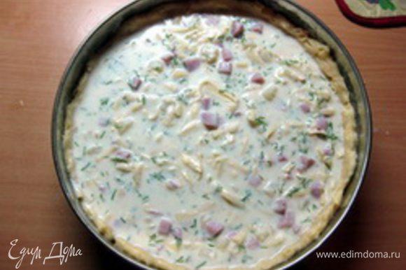 Вылить соус, смешанный с начинкой и поставить выпекать в разогретую до 180оС духовку на 50-60 минут. Когда верх пирога зарумянится и тесто пропечется, вынуть пирог из духовки и дать ему остыть. Затем аккуратно отделить ножом пирог от стенки формы и выложить его на блюдо. Вообще этот пирог подают охлажденным, чтобы сыр застыл, но мне он также очень понравился теплым. Приятного вам аппетита!
