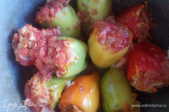 Нафаршировать перцы рисом, уложить с глубокую посуду с толстым дном. Залить луково-томатной подливой и поставить тушится на медленный огонь. Перец тушится минут 30-40.