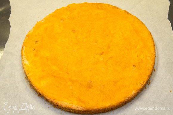 Кладем бисквит на лист бумаги для выпечки. Берем 2 ст. л. пюре из оставшегося тыквенного пюре, смешиваем с сахаром и намазываем на бисквит.