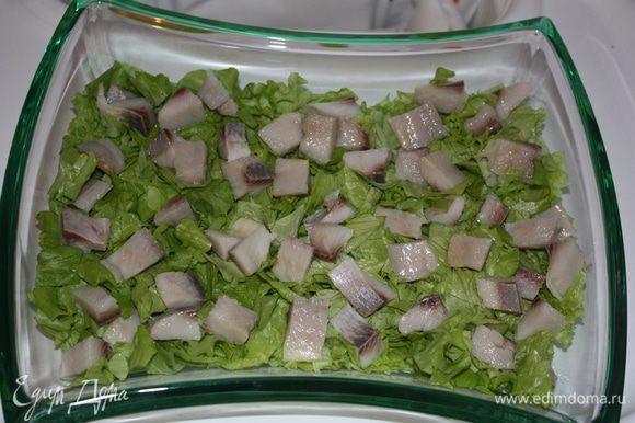 Выкладываем кусочки селедки на салат.