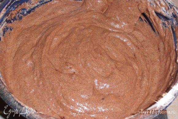 Добавить Просеянную муку,разрыхлитель,какао и перемешать снизу вверх лопаткой.