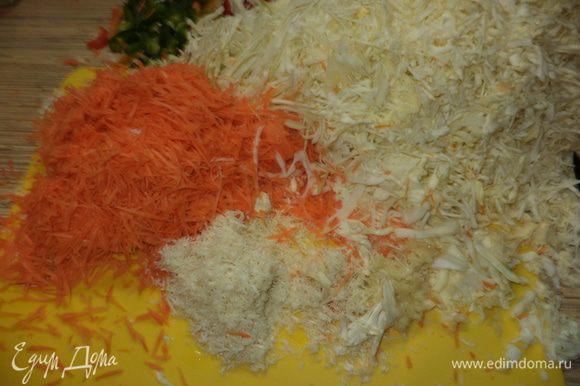 Нашинкуем капусту,нарежем соломкой перец,натрем на мелкой терке хрен и чеснок, морковь мелкой соломкой( я на терке для корейской моркови)