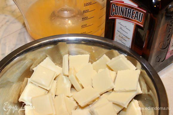 Шоколад поломать, натереть цедру апельсина и отжать апельсиновый сок