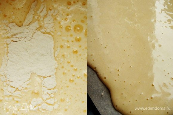 Для рулета взбить яйца с сахаром и уксусной эссенцией в пышную светлую пену. Смешать муку с крахмалом и аккуратно смешать с яйцами. Противень застелить пергаментом. Вылить тесто на противень,разровнять по всей поверхности противня и выпекать при 200*С 5 минут. Готовый бисквит остудить. От себя: я,исходя из особенностей моей духовки, обычно увеличиваю время выпечки. В случае с этим бисквитом мне этого не понадобилось. Я готовила торт дважды и в первый раз пропитала торт,как указано в рецепте, а во второй раз у меня остался пряный винный компот от груш и я пропитала коржи больше,чем 50 г сиропа (рулет я смазала грушевым повидлом). Так мне понравилось больше.