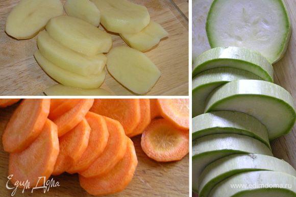 Овощи нарезать кружочками (кабачки потолще, картофель и морковь потоньше).