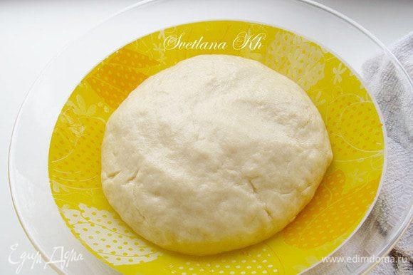 Из всех продуктов замесить тесто, оно должно отлипать от рук. Смазать растительным маслом и накрыв пленкой , поставить в теплое место. Дать тесту подняться.