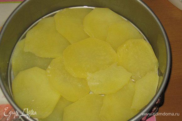 Форму 20 - 22 см хорошо смазать сливочным маслом. Выложить слой картофеля......