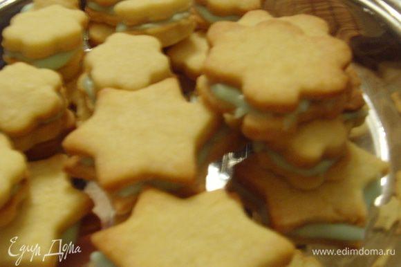 из сахарной пудры и ликёра сделать помадку, смазать печенье с внутренней стороны, склеить между собой.