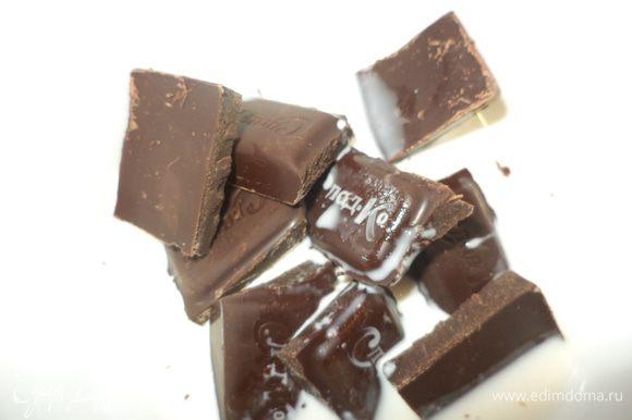 Приготовить шоколадный соус шоколад поломать,влить сливки растопить в микро на 400- 1 минута,