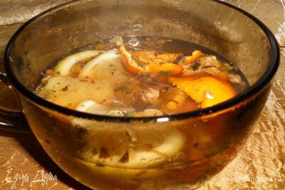 Все перемешать,добавить остальной лимон и можно пить, можно процедить.Можно добавить по желанию ванильный сахар.