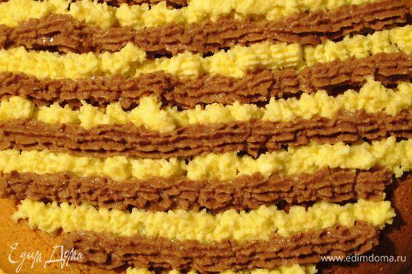 Нанести оставшейся крем кондитерским мешком на поверхность торта и украсить апельсиновыми цукатами.