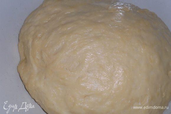 Добавляем остальную муку и замешиваем тесто. Муки может пойти чуть больше или чуть меньше. Дать тесту постоять 20 минут.