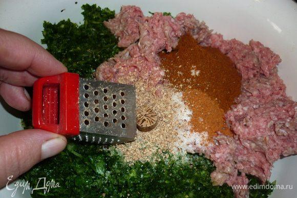 смешать зелень с фаршем, посолить, поперчить. я добавила еще паприку сушеную, она слегка впитала лишний сок зелени. все вымешать, добавить яйца и снова вымешать