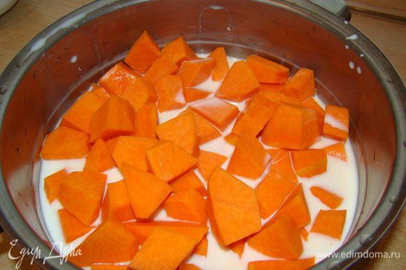 Залить тыкву половиной молока, добавить щепотку соли, варить 30 минут; всыпать пшено и сахар - еще 30 минут