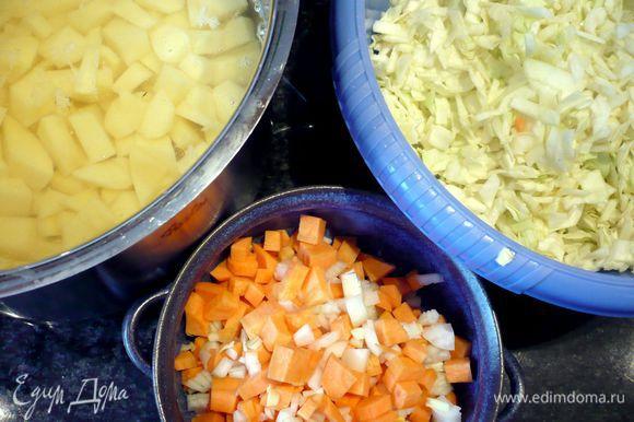 Чистим картофель, режем его на кусочки, желательно поменьше, это вкуснее, также чистим морковь, лук и чеснок. Режем также меленько. Грибы режем на пластиночки. Капусту шинкуем и посыпаем солью, обминаем руками, чтобы она дала сок.