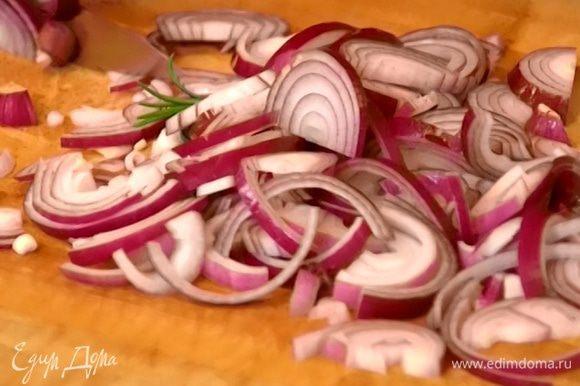 Лук и чеснок почистить, лук нарезать полукольцами, чеснок крупно порубить.
