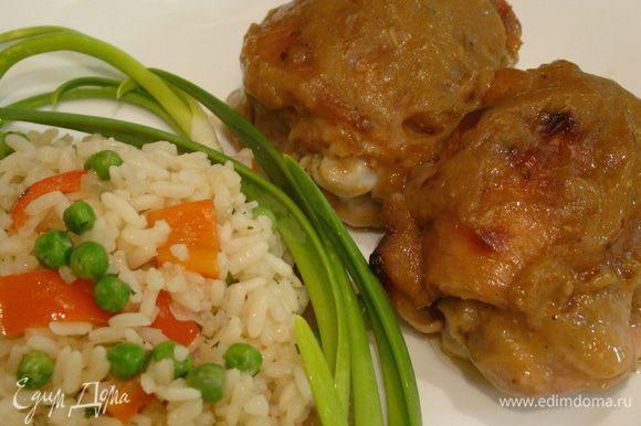 Подаем с рыбой или курицей. В пост можно как самостоятельное блюдо ;) Приятного аппетита!