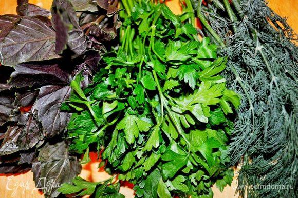 вот такой букет зелени: базилик,петрушка и укроп