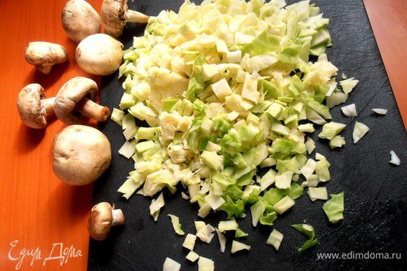 Крошим на кусочки...Выкладываем капусту в сковороду и начинаем обжаривать на растительном масле.Если капуста прошлого урожая,твёрдая,то потушить её нужно подольше с добавлением воды...