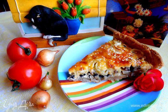 Киш получился очень сочным,вкусным,а уж любители лука и сыра (здесь их предостаточно!) будут в полном восторге,когда приготовят такой Французский пирог)))