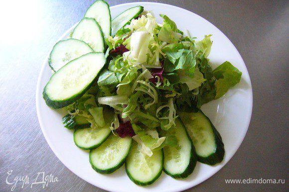 Нарезаем огурец тонкими пластинами по диагонали и выкладываем салат. Очень удачно выложить огурец веером, а сам салат горкой.