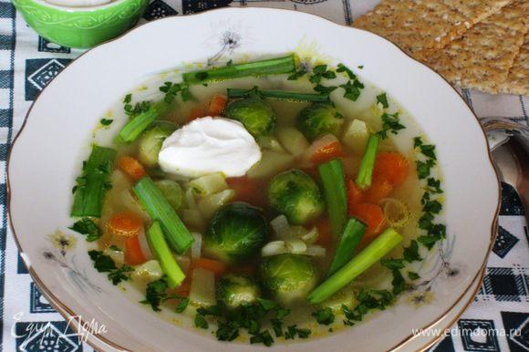 Готовый суп посыпать петрушкой, зeленью лука-порея, добавить сметану (1 ст.л. в каждую тарелку). Приятного аппетита:)