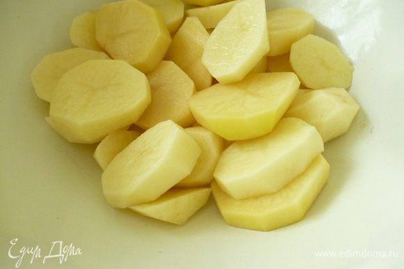 Картофель нарезать кружочками
