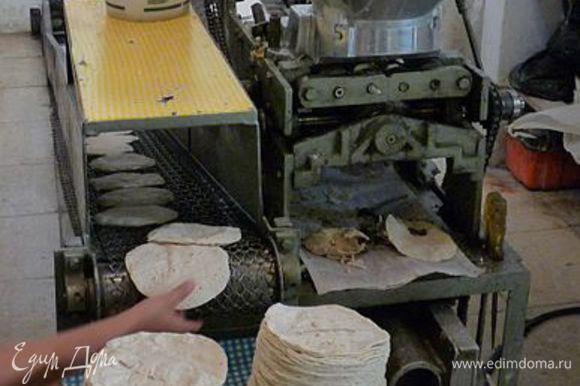 Вот такое фото я нашла в интернете...Машина по изготовлению тортилий!