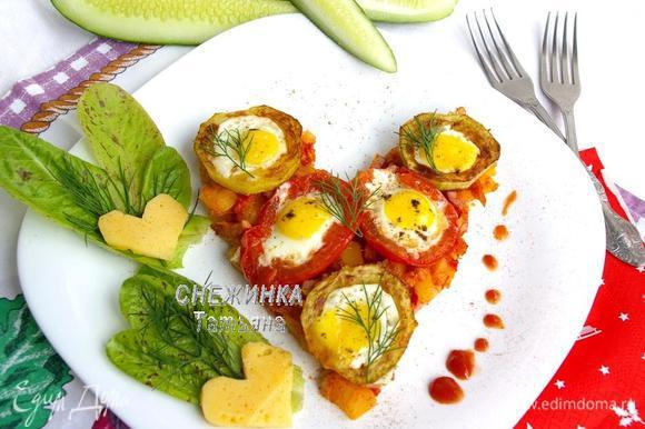 Украшаем по желанию, зеленью, листьями салата и сыром.
