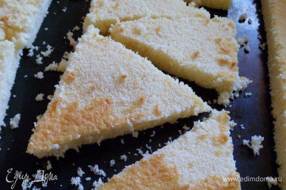 из бисквита я нарезала треугольники,которые предназачались для другой задумки и вставила между кусочками торта для закрепления