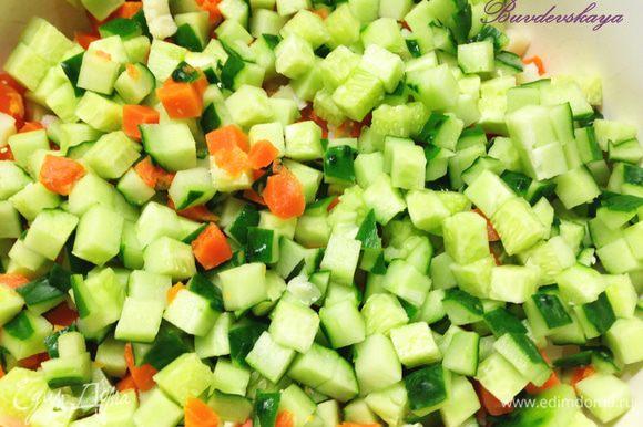 Свежие огурцы вымыть, высушить, срезать попки и нарезать мелкими кубиками добавить в салатник.