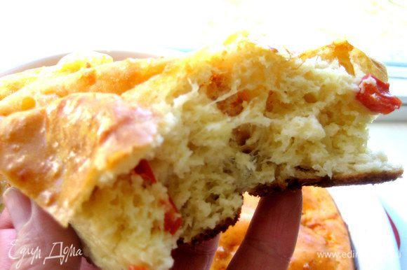 А в тёплом виде даже видны тянущиеся кусочки брынзы... Чем не счастье для кулинара?))) Кстати,отличная альтернатива пицце!!!