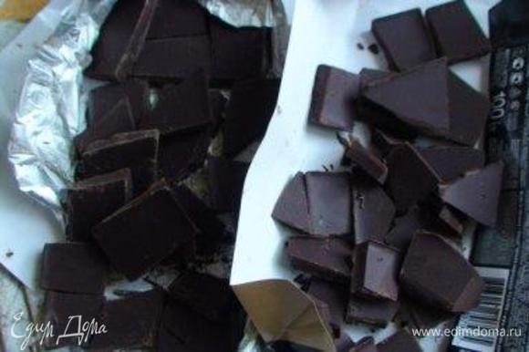 Шоколад поломать. Поставить водяную баню (шоколад на ней не топим).
