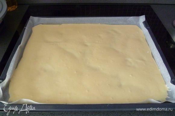 Вылить тесто на промасленную бумагу для выпечки. Выпекать в духовке 10 минут при температуре 180 С. Пока не зарумянится. Не пересушить! Иначе поломается при сворачивании.