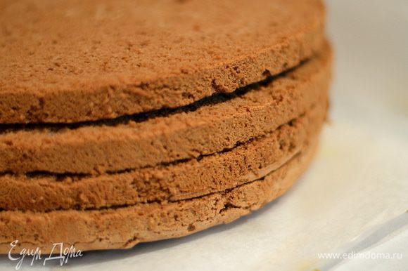Сборка торта. Бисквит, перед тем как резать, отправьте в морозилку на 30-60 минут. Разрезать на 3-4 ровных коржа.