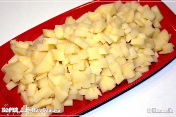 Несколько картошков. Сначала почистить. Потом порезать. Некрупно.