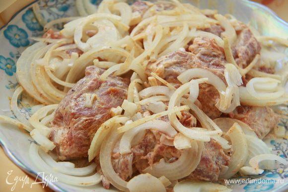 Лук порезать полукольцами, соединить с мясом и соусом.