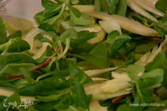 Листья салата выложить на тарелку, перемешать с фенхелем и сельдереем, посыпать петрушкой, затем выложить цветную капусту, все перемешать и полить еще немного заправкой.