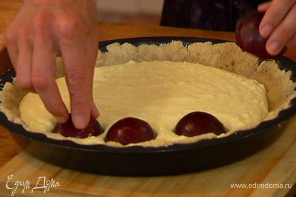Вынуть пропеченный корж из духовки, вылить на него творожный крем, на крем выложить половинки слив, срезами вниз и слегка притопить их.