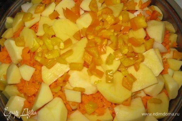 Потом мясо перевернуть и наверх выложить слоями овощи.