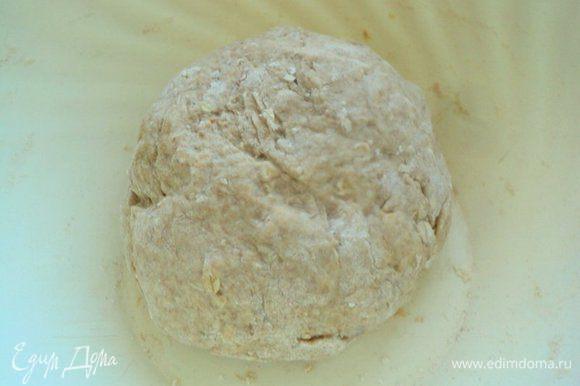 В теплой воде развести дрожжи, добавить сахар, соль, оливковое масло. Смешать пшеничную и цельнозерновую муку и овсяные хлопья и постепенно добавить к жидкой части, замесить мягкое тесто. Накрыть миску с тестом полотенцем и поставить в теплое место для подъема.