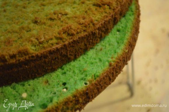 Бисквит разрезаем на 2 коржа (можно при желании пропитать сахарным сиропом, но он и так достаточно сочный.